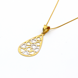 Real Gold 2C Drop Hearts Pendant with Box Chain GZN 008 - 18K Gold Jewelry