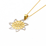 Real Gold 2 Color Star Pendant with Box Chain GZN 001 - 18K Gold Jewelry