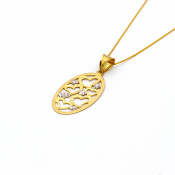 Real Gold 2 Color Heart Oval Pendant with Box Chain GZN 005 - 18K Gold Jewelry