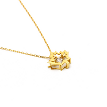 Real Gold Leaf Dancing Stone Necklace N1210 - 18K Gold Jewelry
