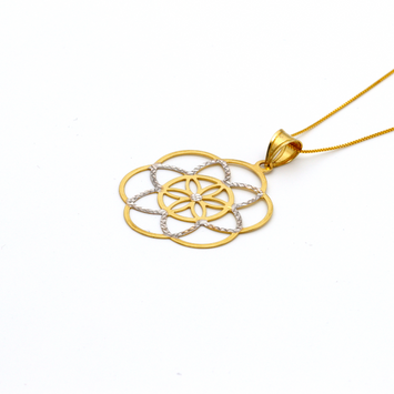 Real Gold 2 Color Flower Pendant with Box Chain GZN 002 - 18K Gold Jewelry