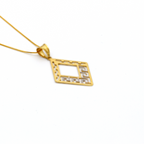 Real Gold 2 Color MH Pendant with Box Chain GZN 009 - 18K Gold Jewelry