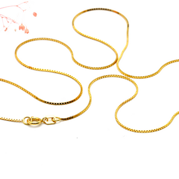 Real Gold Box Chain (45 C.M) 2529 - 18K Gold Jewelry