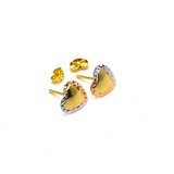 Real Gold 3 Color Mirror Heart Earring Set 0003/3 E1605