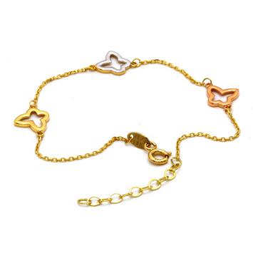 Real Gold 3C3 butterfly Adjustable Bracelet 1206 - 18K Gold Jewelry