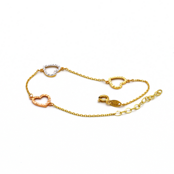 Real Gold 3C3 Heart Adjustable Bracelet 1204 - 18K Gold Jewelry