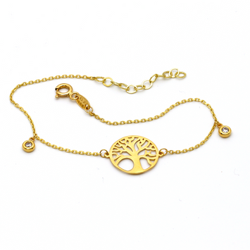 Real Gold Tree Adjustable Bracelet 1026 - 18K Gold Jewelry