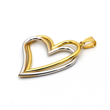 Real Gold 2 Color 2 Heart Big Pendant 0977 P 1669