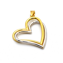 Real Gold 2 Color 2 Heart Big Pendant 0977 P 1669 - 18K Gold Jewelry