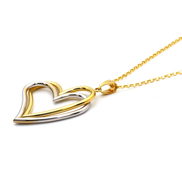 Real Gold 2 Color 2 Heart Big Necklace with Chopard Chain 0977 CWP 1669