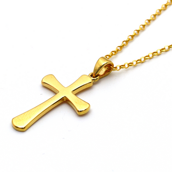 Real Gold Plain Cross Necklace with Chopard Chain 1926/11 CWP 1670
