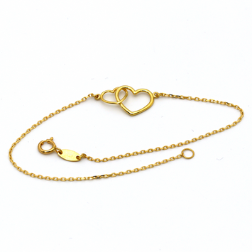 Real Gold 2 Heart Bracelet 1744 - 18K Gold Jewelry