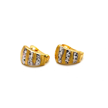 Real Gold 2 Color Curved Earring Set E1614