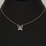 Real Gold Butterfly White Gold Necklace Adjustable Size 1750 N1215
