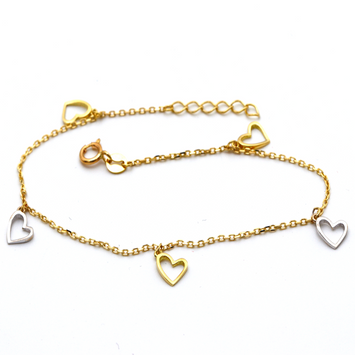 Real Gold Heart Dangler Rosary Bracelet Adjustable Size 5877 BR1305