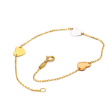 Real Gold 3 Color Heart Bracelet 4066 - 18K Gold Jewelry