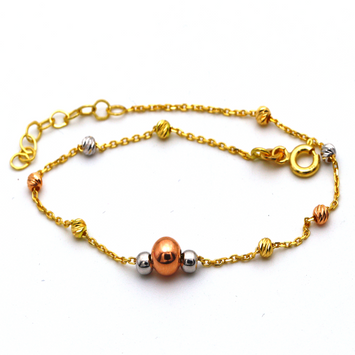 Real Gold 3 Color Ball Seed Bracelet Adjustable Size 982 BR1306