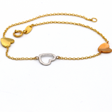 Real Gold 3 Color Heart Bracelet 3345 - 18K Gold Jewelry