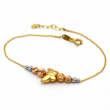 Real Gold 3D 3 Color Butterfly Adjustable Bracelet 1364 - 18K Gold Jewelry