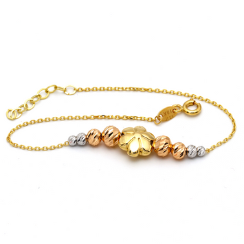 Real Gold 3D 3 Color Flower Adjustable Bracelet 1368 - 18K Gold Jewelry