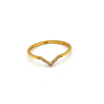 Real Gold V Stone Ring (SIZE 7) R1618