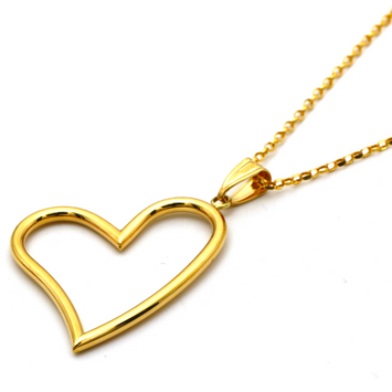 Real Gold 3D Big Heart Necklace with Chopard Chain CWP 1671
