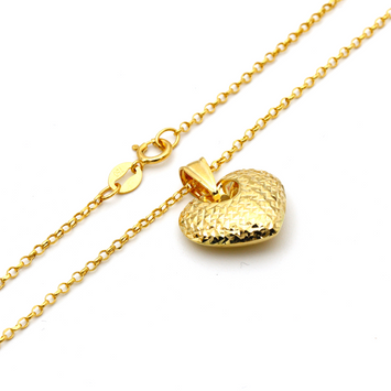 Real Gold 3D Glittering Heart Necklace with Chopard Chain CWP 1672