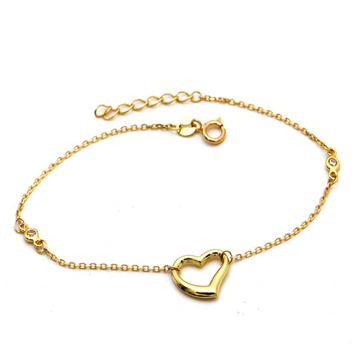 Real Gold 3D Heart Bracelet Adjustable Size 5597 BR1307