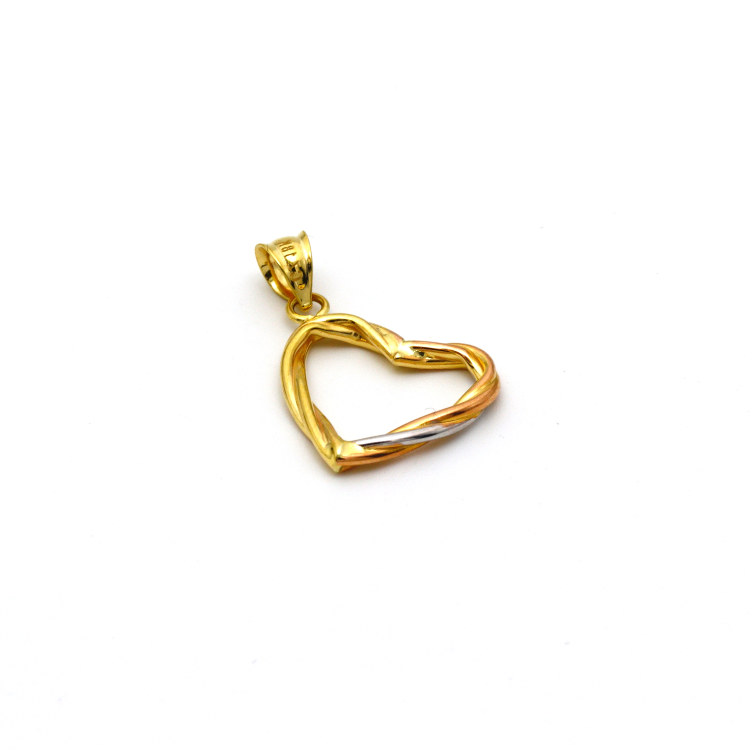 Real Gold 3 Color Heart Pendant 5441 - 18K Gold Jewelry