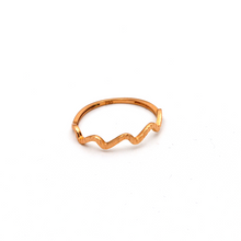 Real Gold Wave Rose Gold Ring (SIZE 8.5) R1628 - 18K Gold Jewelry