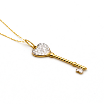 Real Gold 2 Color Key Necklace 2756 - 18K Gold Jewelry