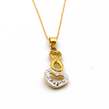 Real Gold 2 Color Heart Infinity Necklace 2574 - 18K Gold Jewelry