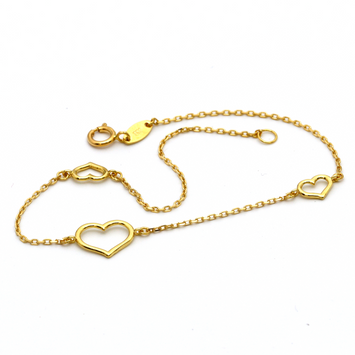 Real Gold 3 Heart Bracelet 1746 - 18K Gold Jewelry