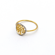 Real Gold 2 Color Tree Ring (SIZE 6) R1638 - 18K Gold Jewelry