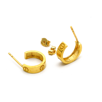 Real Gold CR Round Earring Set E1378 - 18K Gold Jewelry