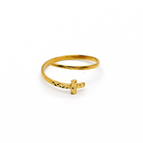 Real Gold Cross Texture Spiral Ring (SIZE 7) R1340 - 18K Gold Jewelry