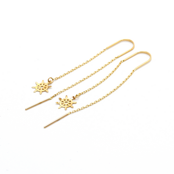 Real Gold Hanging Wheel Earring Set E1014