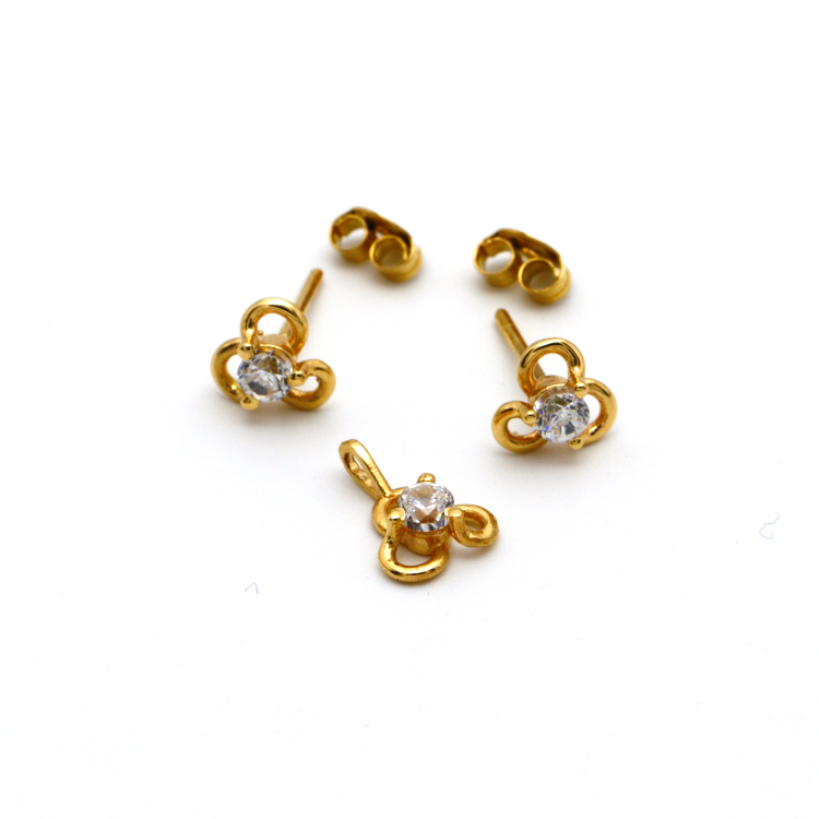 Real Gold Stone Flower Earring Set With Pendant for Kids Jewellery EWP1005 - 18K Gold Jewelry