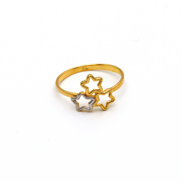 Real Gold 2C 3 Star Ring (SIZE 6.5) R1351 - 18K Gold Jewelry