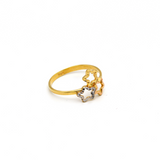 Real Gold 3 Star Texture Ring (SIZE 6.5) R1349 - 18K Gold Jewelry