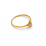 Real Gold Stone Flower Ring (SIZE 7) R1363 - 18K Gold Jewelry