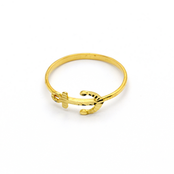 Real Gold Anchor Ring (SIZE 6.5) R1365 - 18K Gold Jewelry