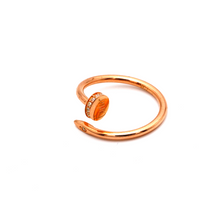 Real Gold Cr Nail Stone Rose Gold Ring (SIZE 7) R1641 - 18K Gold Jewelry
