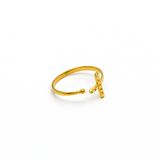 Real Gold Glittering Cross Ring (SIZE 7.5) R1355 - 18K Gold Jewelry