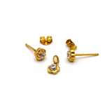 Real Gold Flower Earring Set With Pendant for Kids Jewellery EWP1006 - 18K Gold Jewelry