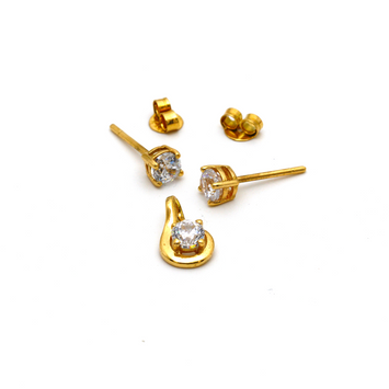 Real Gold Stone Earring Set With Pendant for Kids Jewellery EWP1007 - 18K Gold Jewelry
