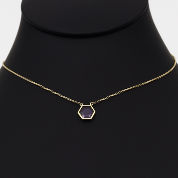 Real Gold Violet Adjustable Size Necklace 0973 N1158