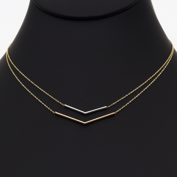 Real Gold 3 Color Double layer Adjustable Size V Necklace 0929 N1133