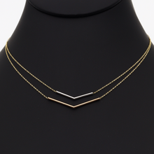 Real Gold 3 Color Double layer Adjustable Size V Necklace 0929 N1133 - 18K Gold Jewelry