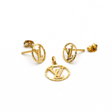 Real Gold LV Textured Earring Set with Pendant EWP1010 - 18K Gold Jewelry